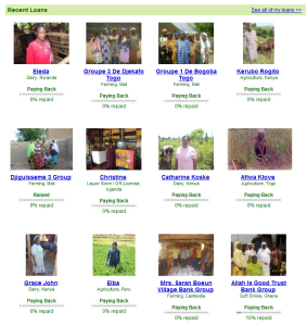 My recent Kiva loans